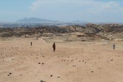 在千岁兰平原的月亮风景与人走 库存图片