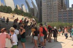 在千禧公园的豆雕塑在芝加哥 库存图片
