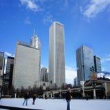 在千禧公园,芝加哥,伊利诺伊的美好的滑雪区域 库存图片