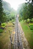 在升旗山的一条电车铁路 库存照片