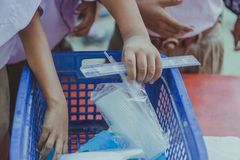 在午休期间,学生吃牛奶 库存图片
