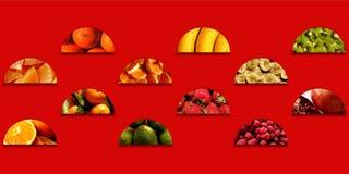在半圆形状里面的各种各样的水果的纹理 免版税库存照片