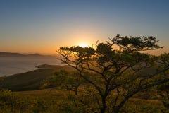 在半岛的日出代表Krabbe在日本海 免版税库存图片
