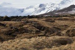 在半岛Snaefellsness,冰岛的斯诺伊火山的风景 免版税库存照片