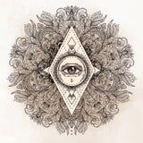 在华丽圆的坛场样式的所有看见的眼睛 神秘主义者,方术, 库存例证