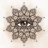 在华丽圆的坛场样式的所有看见的眼睛 神秘主义者,方术, 向量例证