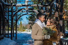 在华丽的婚礼夫妇凋枯天,走,几何 土气样式短小婚礼礼服 女孩浅黑肤色的男人 美丽的新娘 图库摄影