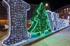 在华沙叛乱者正方形的圣诞节装饰 免版税库存照片