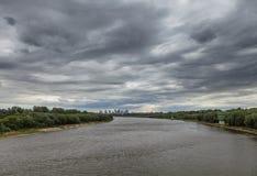 在华沙,波兰的充分的阴云密布 库存图片
