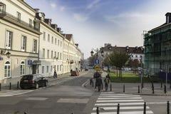 在华沙` s Mariensztat,华沙,波兰 库存照片