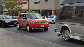 在华盛顿特区的电计程车 免版税库存图片