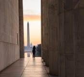在华盛顿特区纪念碑的透视 库存照片