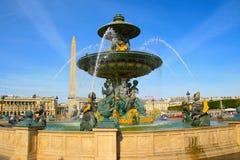 在协和广场的Fontaine des Mers在巴黎 免版税图库摄影