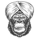 在单色样式的严肃的大猩猩 库存图片
