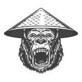 在单色样式的恼怒的大猩猩 图库摄影