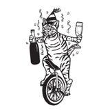在单轮脚踏车的党猫 图库摄影