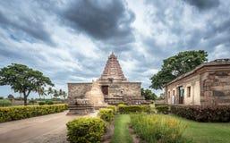 在南印度正面图的印度寺庙 免版税库存图片