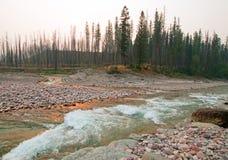 在南叉扁平头的河的合流的日落和在草甸小河的失去的杰克小河在鲍伯马歇尔原野-蒙大拿狼吞虎咽 免版税图库摄影