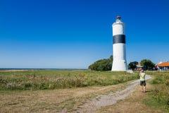 在南奥兰,瑞典的著名灯塔 免版税图库摄影