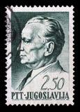 在南斯拉夫打印的邮票,是被描述的约瑟普・布罗兹・铁托 免版税库存照片