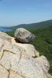 在南泡影山顶部的泡影岩石在阿卡迪亚国家公园在缅因 库存图片