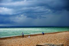 在南海岸英国的多暴风雨的天气 图库摄影