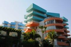 在南海滩的艺术装饰大厦 免版税库存图片
