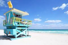 在南海滩,佛罗里达的救生员小屋 库存图片