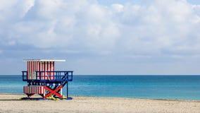 在南海滩,迈阿密海滩,佛罗里达,美国的救生员塔 免版税库存图片