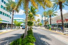 在南海滩,迈阿密的林肯路大道 免版税库存照片