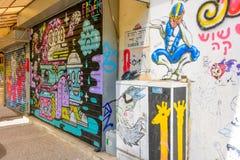 在南特拉维夫熟悉内情的街道的街道画艺术  免版税库存图片