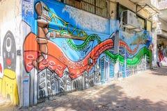 在南特拉维夫熟悉内情的街道的街道画艺术  库存图片