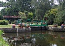 在南特的运河锁布雷斯特运河的 免版税库存照片