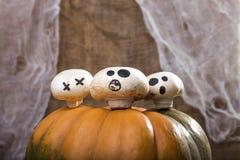 在南瓜上面的三个蘑菇 免版税图库摄影