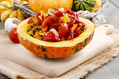 在南瓜供食的菜沙拉 库存照片