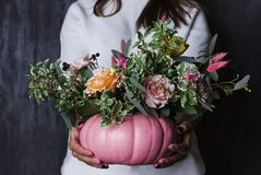 在南瓜花瓶的秋天百花香 花的装饰 免版税库存照片