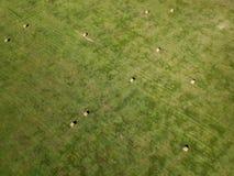 在南达科他农业的干草捆领域航拍  库存照片