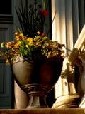 在南部的豪宅门廊的花缸 库存照片