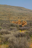 在南部非洲的干旱台地高原的老石农厂篱芭 免版税图库摄影