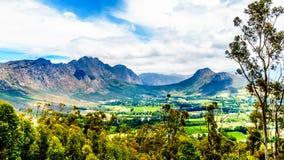 在南非的西开普省省的Franschhoek谷有是海角Winelands的一部分的葡萄园的 免版税库存照片