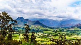 在南非的西开普省省的Franschhoek谷有是海角Winelands的一部分的葡萄园的 库存图片