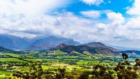 在南非的西开普省省的Franschhoek谷有是海角Winelands的一部分的葡萄园的 库存照片