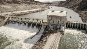 在博伊西河的历史的转换水坝在爱达荷 免版税库存照片