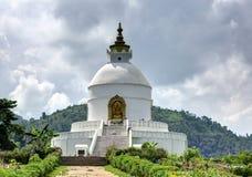 在博克拉的Shanti Stupa 库存照片