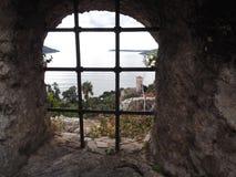 在博卡队海湾的入口的堡垒视图 库存图片