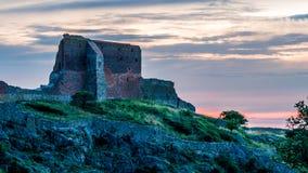 在博恩霍尔姆,丹麦的城堡Hammershus 库存图片