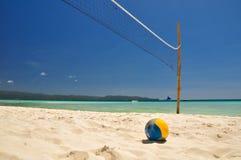 在博拉凯-菲律宾的沙滩排球网 免版税库存照片