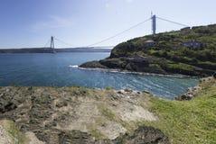 在博斯普鲁斯海峡的第三座桥梁 库存图片