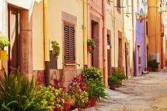 在博萨,撒丁岛,意大利街道上的五颜六色的房子  免版税图库摄影