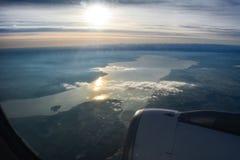在博登湖的瑞士人A320 免版税库存图片
